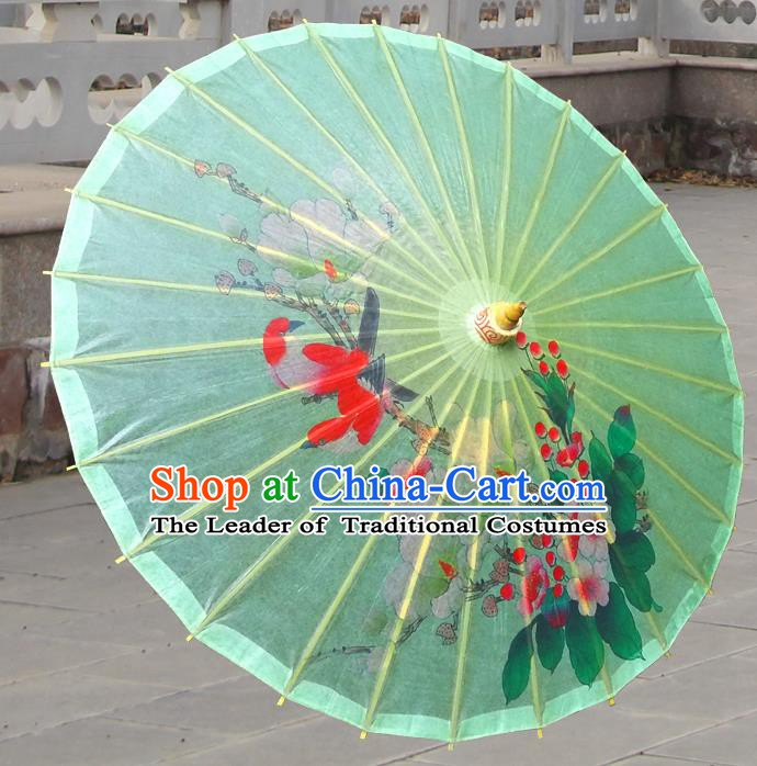 China Traditional Folk Dance Paper Umbrella Hand Painting Flower Bird Green Oil-paper Umbrella Stage Performance Props Umbrellas