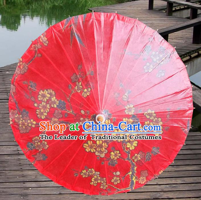 Handmade China Traditional Folk Dance Umbrella Ink Painting Plum Blossom Red Oil-paper Umbrella Stage Performance Props Umbrellas