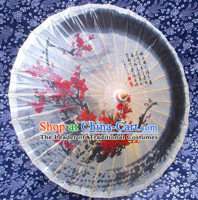 Handmade China Traditional Folk Dance Umbrella Ink Painting Red Plum Blossom Oil-paper Umbrella Stage Performance Props Umbrellas