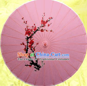 Handmade China Traditional Folk Dance Umbrella Ink Painting Plum Blossom Pink Oil-paper Umbrella Stage Performance Props Umbrellas