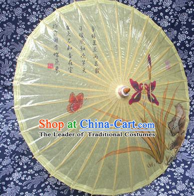 Handmade China Traditional Folk Dance Umbrella Stage Performance Props Umbrellas Printing Orchid Yellow Oil-paper Umbrella