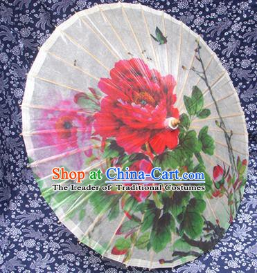 Handmade China Traditional Folk Dance Umbrella Stage Performance Props Umbrellas Printing Peony Oil-paper Umbrella