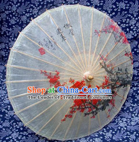 Handmade China Traditional Folk Dance Umbrella Stage Performance Props Umbrellas Printing Plum Blossom Oil-paper Umbrella