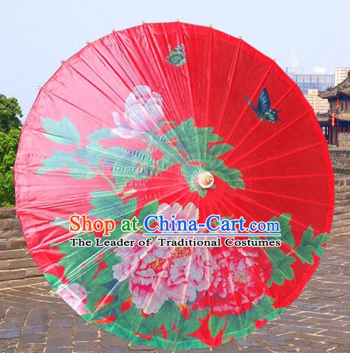Handmade China Traditional Folk Dance Umbrella Stage Performance Props Umbrellas Printing Peony Red Oil-paper Umbrella