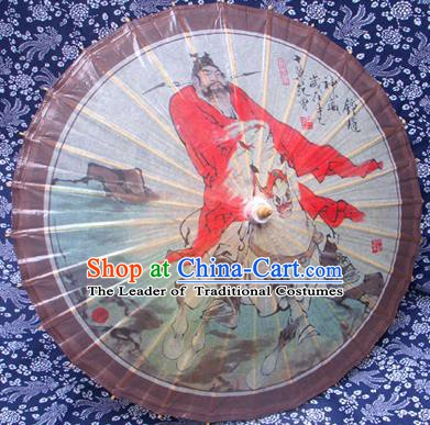 Handmade China Traditional Folk Dance Umbrella Stage Performance Props Umbrellas Printing Zhong Kui Oil-paper Umbrella