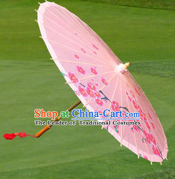 Handmade China Traditional Folk Dance Umbrella Stage Performance Props Umbrellas Printing Wintersweet Pink Oil-paper Umbrella