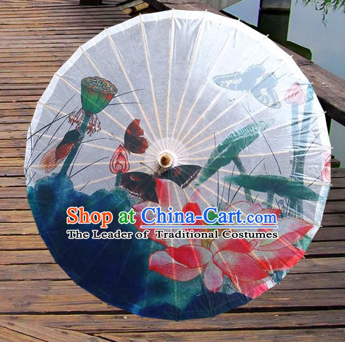 Handmade China Traditional Folk Dance Umbrella Stage Performance Props Umbrellas Printing Lotus Butterfly Oil-paper Umbrella