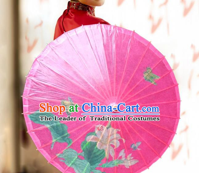 Handmade China Traditional Folk Dance Umbrella Stage Performance Props Umbrellas Printing Pink Oil-paper Umbrella
