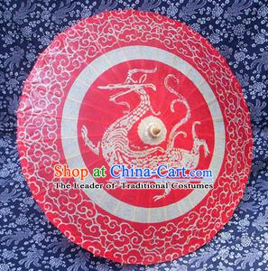 Handmade China Traditional Folk Dance Umbrella Stage Performance Props Umbrellas Printing Dragon Red Oil-paper Umbrella
