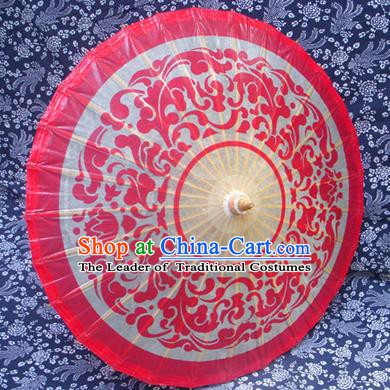 Handmade China Traditional Folk Dance Umbrella Stage Performance Props Umbrellas Printing Wedding Red Oil-paper Umbrella