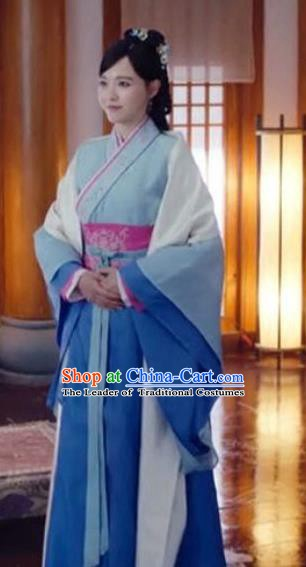 Traditional Chinese Ancient Han Dynasty Royal Princess Embroidered Dress Clothing for Women