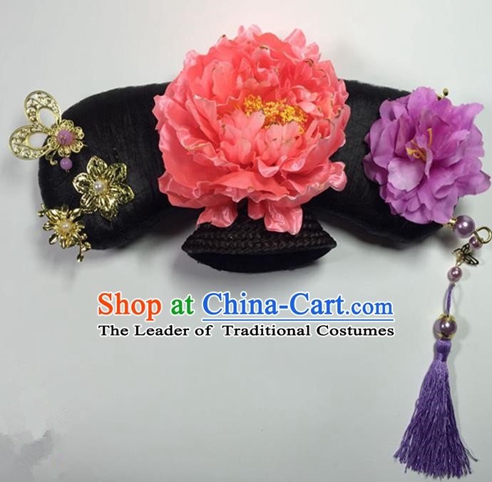 Asian China Handmade Classical Qing Dynasty Manchu Palace Lady Wig and Hair Accessories