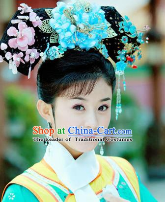 Asian China Handmade Classical Qing Dynasty Manchu Palace Princess Wig and Hair Accessories