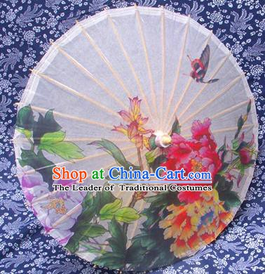 Handmade China Traditional Folk Dance Umbrella Stage Performance Props Umbrellas Printing Peony White Oil-paper Umbrella