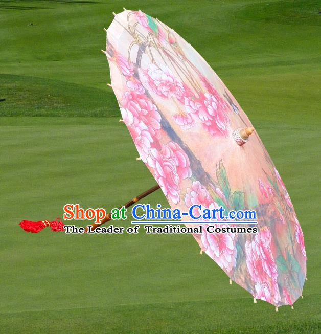 Handmade China Traditional Folk Dance Umbrella Stage Performance Props Umbrellas Printing Peach Blossom Oil-paper Umbrella