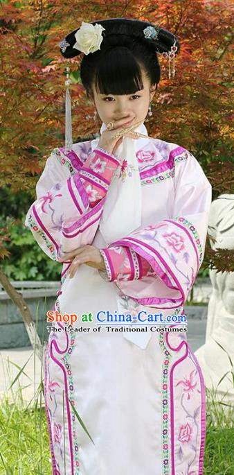 Traditional Chinese Ancient Qing Dynasty Princess Manchu Palace Lady Embroidered Costume for Women