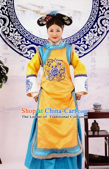 Traditional Chinese Ancient Qing Dynasty Imperial Empress Manchu Palace Lady Embroidered Costume for Women