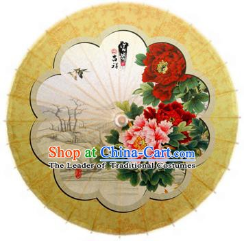 Handmade China Traditional Folk Dance Umbrella Stage Performance Props Umbrellas Printing Peony Yellow Oil-paper Umbrella