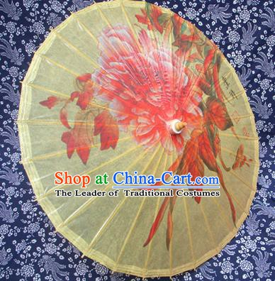 Handmade China Traditional Folk Dance Umbrella Stage Performance Props Umbrellas Printing Flowers Yellow Oil-paper Umbrella