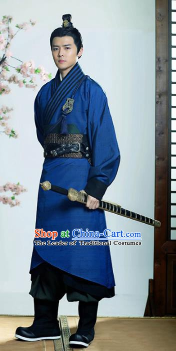 Traditional Chinese Ancient Han Dynasty Swordsman Embroidered Hanfu Clothing for Men