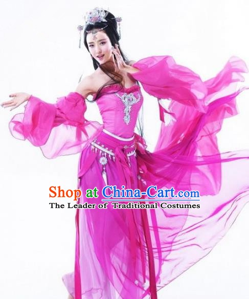 Asian Chinese Cosplay Ancient Imperial Princess Costume Fairy Rosy Clothing for Women