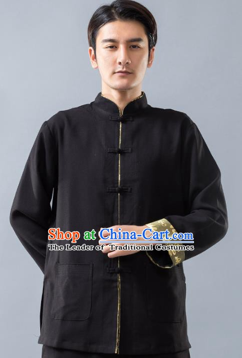 Top Grade Chinese Kung Fu Costume, China Martial Arts Training Black Uniform Gongfu Shaolin Wushu Clothing for Men
