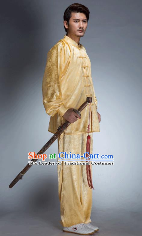 Top Grade Chinese Kung Fu Costume, China Martial Arts Tai Ji Training Yellow Uniform Gongfu Shaolin Wushu Clothing for Men