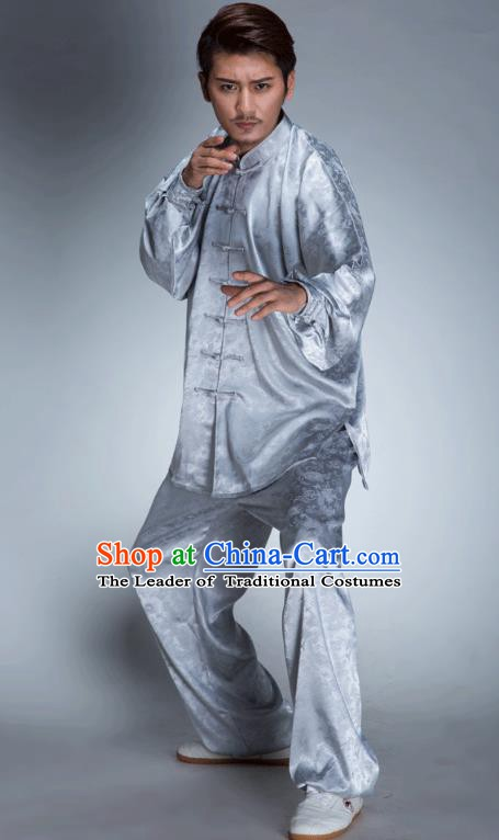 Top Grade Chinese Kung Fu Costume, China Martial Arts Tai Ji Training Grey Uniform Gongfu Shaolin Wushu Clothing for Men