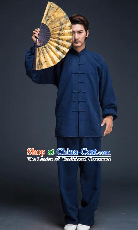 Top Grade Chinese Kung Fu Costume, China Martial Arts Tai Ji Training Navy Uniform Gongfu Wushu Clothing for Men