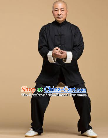 Top Grade Chinese Kung Fu Black Costume, China Martial Arts Tai Ji Training Uniform Gongfu Wushu Clothing for Men