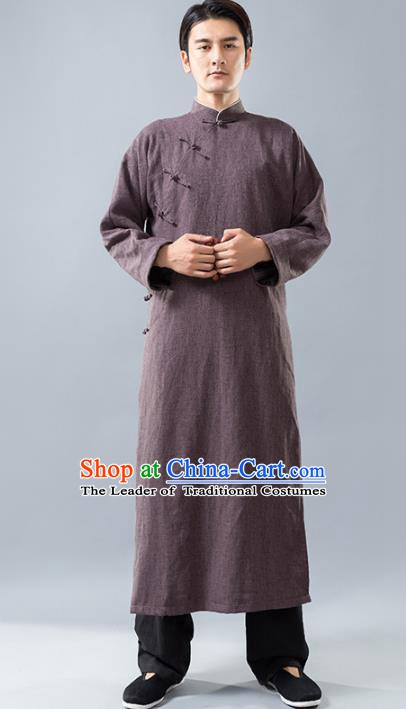 Top Grade Chinese Kung Fu Costume, China Martial Arts Tai Ji Training Uniform Gongfu Brown Long Robe for Men