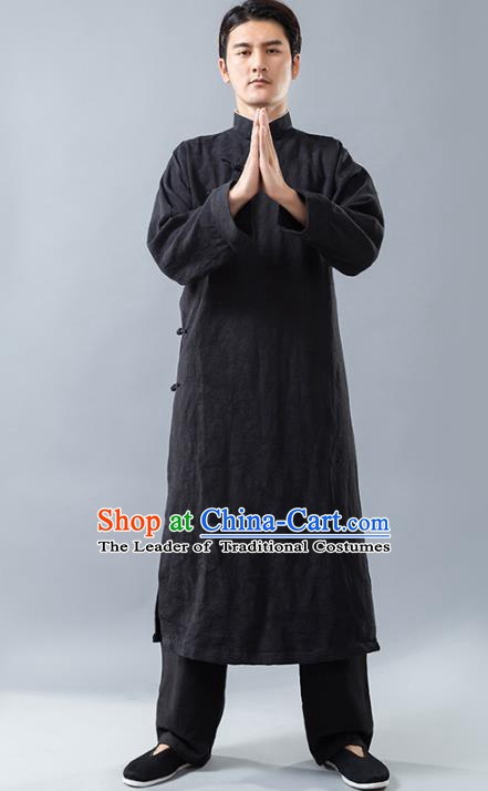 Top Grade Chinese Kung Fu Costume, China Martial Arts Tai Ji Training Uniform Gongfu Black Long Robe for Men
