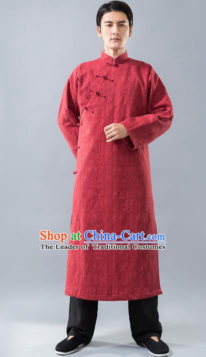 Top Grade Chinese Kung Fu Costume, China Martial Arts Tai Ji Training Uniform Gongfu Red Long Robe for Men
