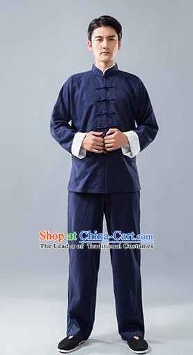 Top Grade Chinese Kung Fu Costume, China Martial Arts Tai Ji Training Linen Uniform Gongfu Clothing for Men
