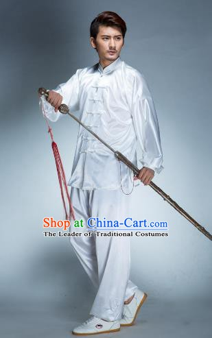Top Grade Chinese Kung Fu White Costume, China Martial Arts Tai Ji Training Uniform Gongfu Clothing for Men