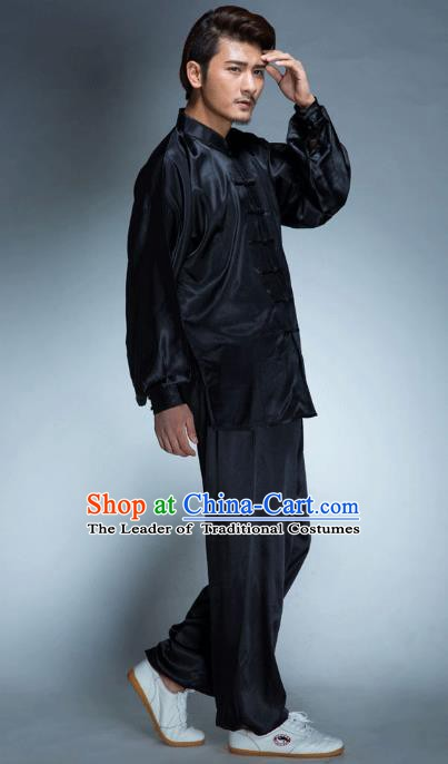 Top Grade Chinese Kung Fu Black Costume, China Martial Arts Tai Ji Training Uniform Gongfu Clothing for Men