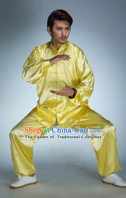 Top Grade Chinese Kung Fu Yellow Costume, China Martial Arts Tai Ji Training Uniform Gongfu Clothing for Men