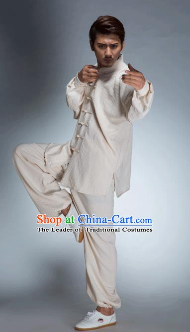 Top Grade Chinese Kung Fu Beige Linen Costume, China Martial Arts Tai Ji Training Uniform Gongfu Clothing for Men