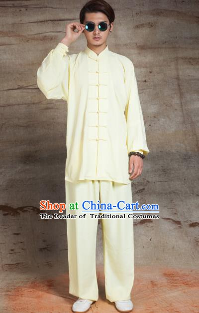 Top Grade Chinese Kung Fu Yellow Linen Costume, China Martial Arts Tai Ji Training Uniform Gongfu Clothing for Men