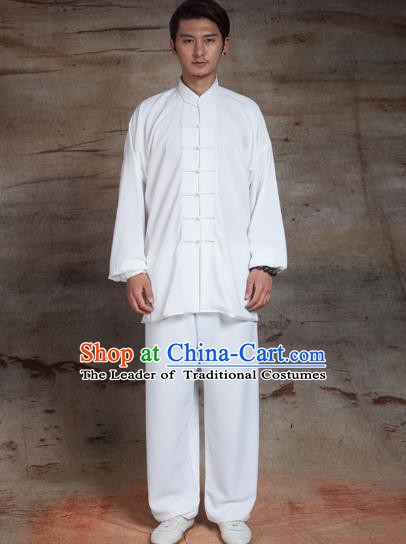Top Grade Chinese Kung Fu White Linen Costume, China Martial Arts Tai Ji Training Uniform Gongfu Clothing for Men