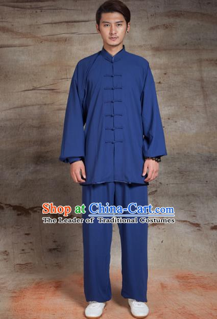 Top Grade Chinese Kung Fu Blue Linen Costume, China Martial Arts Tai Ji Training Uniform Gongfu Clothing for Men