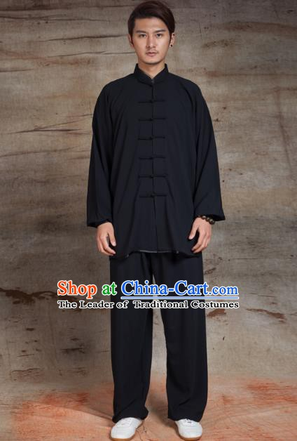 Top Grade Chinese Kung Fu Black Linen Costume, China Martial Arts Tai Ji Training Uniform Gongfu Clothing for Men