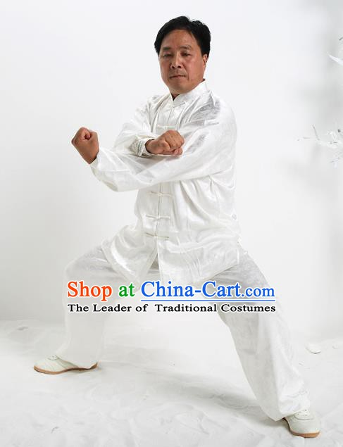 Top Grade Chinese Kung Fu White Silk Costume, China Martial Arts Tai Ji Training Uniform Gongfu Clothing for Men