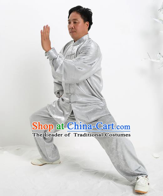 Top Grade Chinese Kung Fu Grey Silk Costume, China Martial Arts Tai Ji Training Uniform Gongfu Clothing for Men
