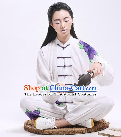 Top Grade Chinese Kung Fu Costume Martial Arts Printing Purple Peony Uniform, China Tai Ji Wushu Plated Buttons Clothing for Women