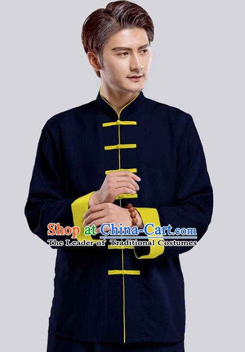 Top Grade Chinese Kung Fu Costume Tai Ji Training Blue Uniform, China Martial Arts Tang Suit Gongfu Clothing for Men