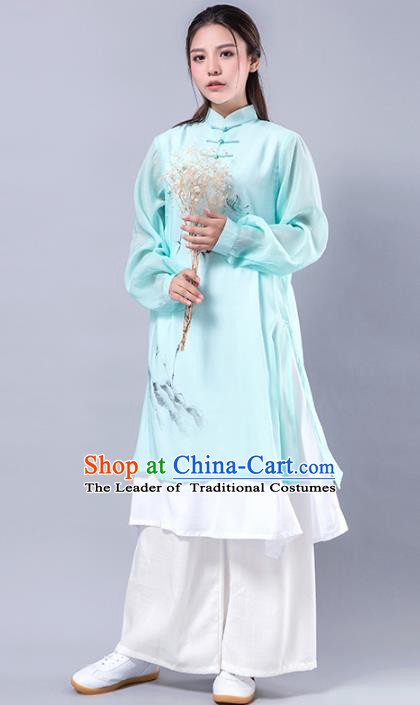 Top Grade Chinese Kung Fu Costume Martial Arts Uniform, China Tai Ji Wushu Plated Buttons Green Robe Clothing for Women