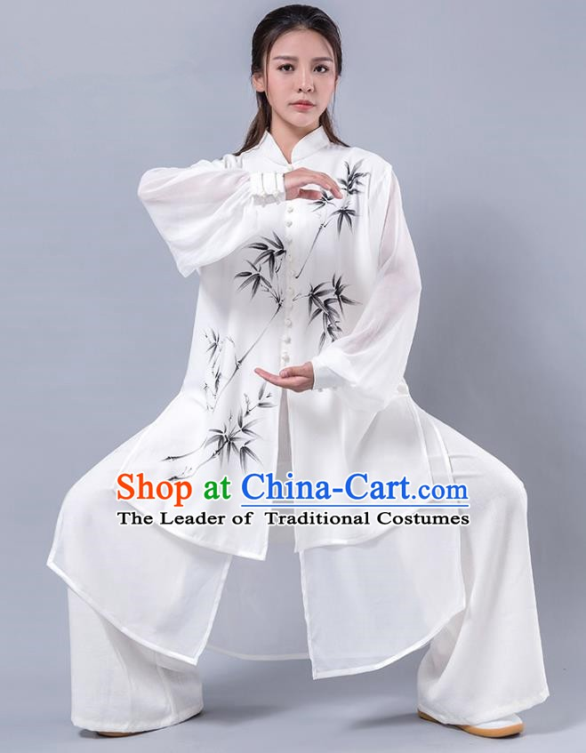 Top Grade Chinese Kung Fu Costume Martial Arts Printing Bamboo White Uniform, China Tai Ji Wushu Plated Buttons Clothing for Women