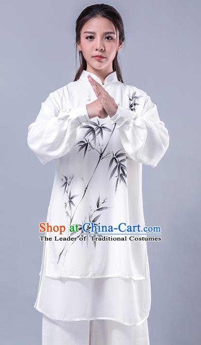 Top Grade Chinese Kung Fu Costume Martial Arts Printing Bamboo Uniform, China Tai Ji Wushu Plated Buttons Clothing for Women
