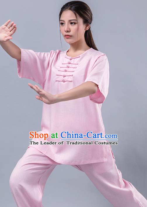 Top Grade Chinese Kung Fu Costume Martial Arts Pink Uniform, China Tai Ji Wushu Plated Buttons Clothing for Women